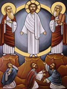 An icon of Christ, Moses and Elijah at the Transfiguration of Jesus