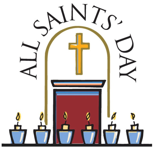 The text 'All Saints' Day' with candles and a pulpit