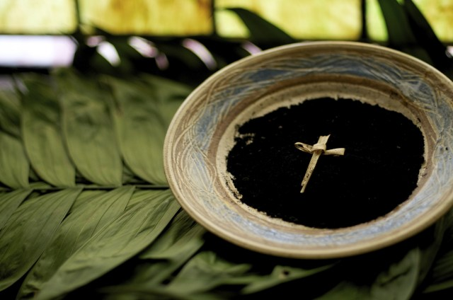 A photograph of a bowl of ashes sitting on palm leaves, surmounted with a palm cross