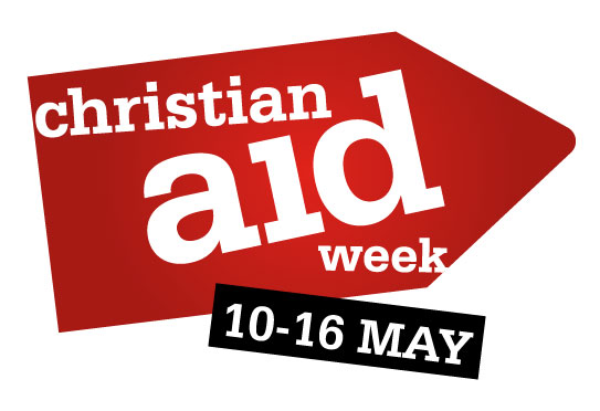 A red arrow with 'Christian Aid Week 10-16 May' written on it
