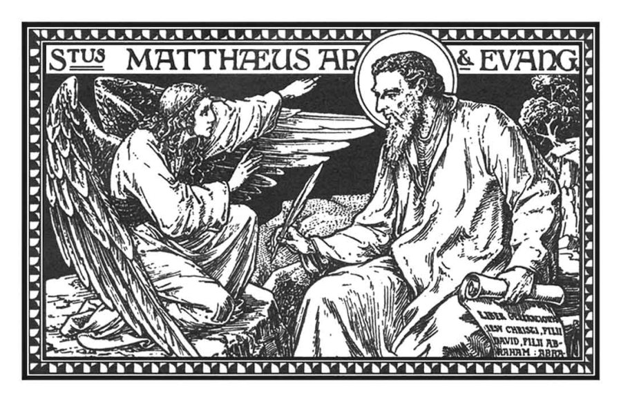 An engraving of St Matthew the Evangelist