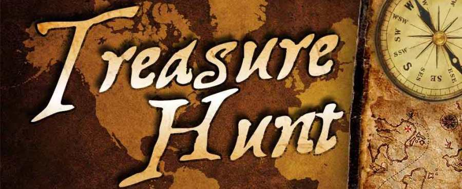 """Image of a faded antique map with """"Treasure Hunt"""" written on it"""