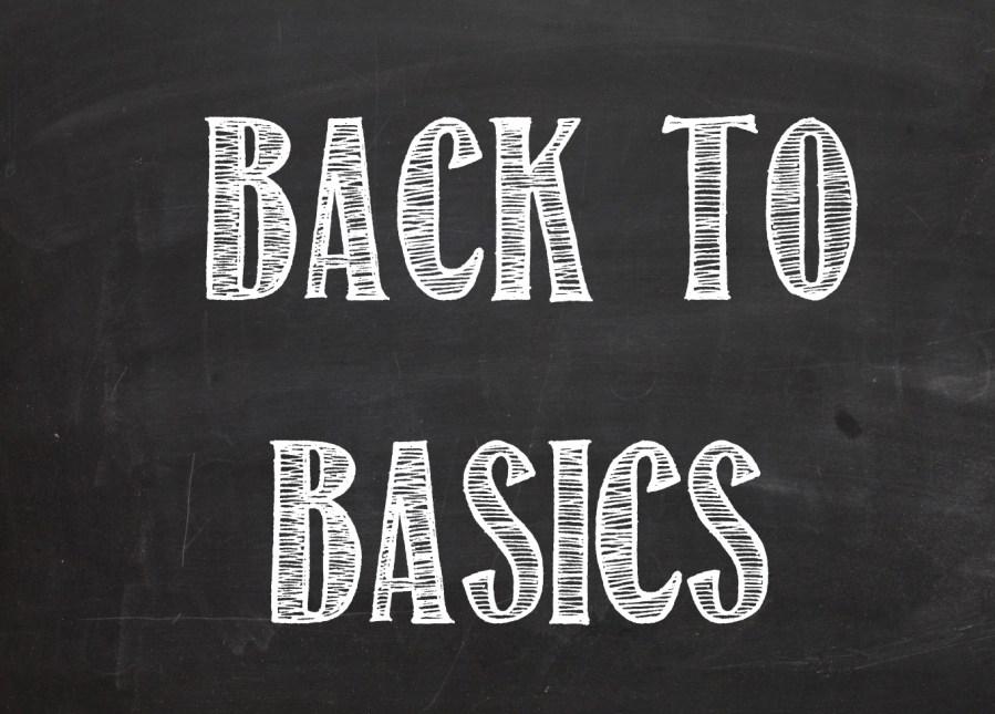 Back to Basics text on blackboard style image