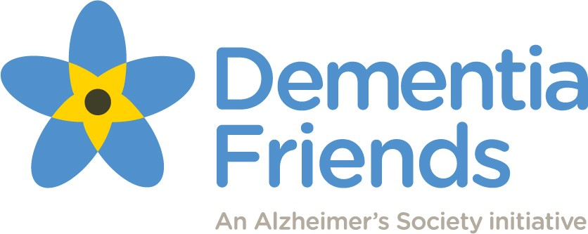 Image of a flower with the text 'Dementia Friends: An Alzheimer's Society Initiative'