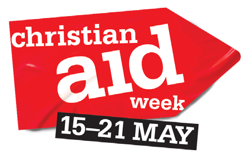 """A red arrow saying """"Christian Aid Week 15-21 May"""""""