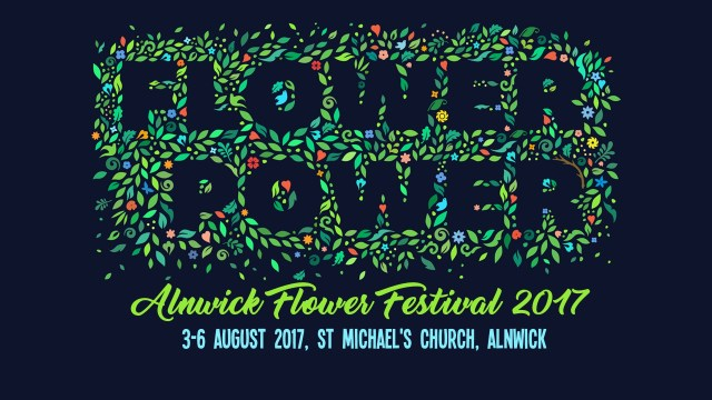"The words ""Flower Power"" silhouetted by images of flowers, with the text ""Alnwick Flower Festival 2017"" and ""3-6th August, St Michael's Church, Alnwick"""