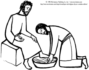 Clipart image of Jesus washing a disciple's feet