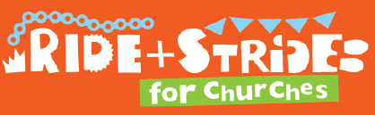 An orange logo with text stating 'Ride and Stride for Churches'