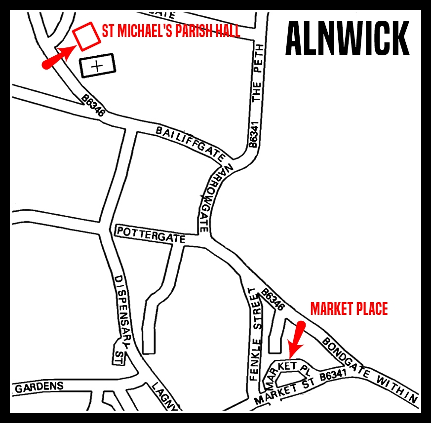 A map showing the location of the Parish Hall