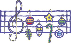 Image of musical notes made from Christmas decorations