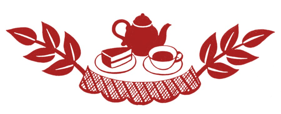 Clipart of a teapot, cup and piece of cake