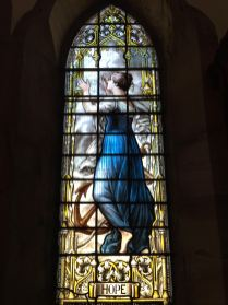 "Stained glass depiction of ""hope"" at St Peter the Fisherman, Craster"