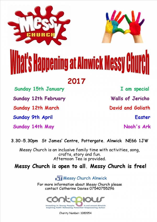 Poster with dates of Messy Church events
