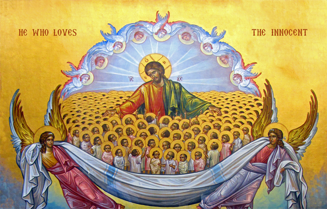Orthodox icon depicting Christ surrounded by many children, with the text 'He who loves the innocent'