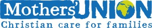 """The words """"Mothers' Union: Christian Care for Families"""" in blue on an white background"""
