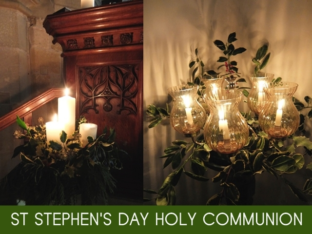 "Two images of candles in the church with the words ""St Stephen's Day Holy Communion"""
