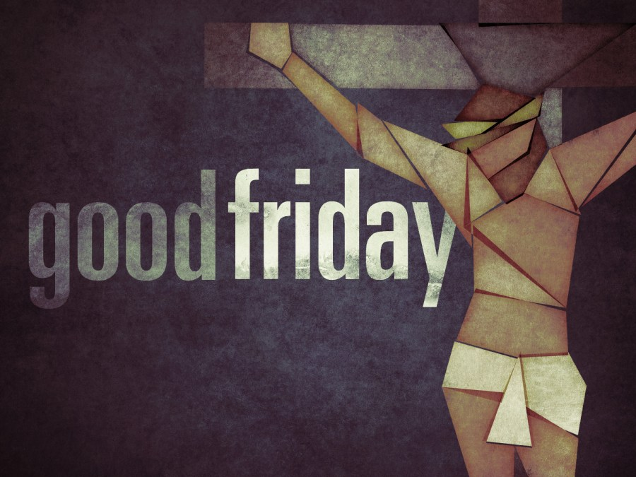"""A stylised illustration of Christ on the cross, with the words """"Good Friday"""""""