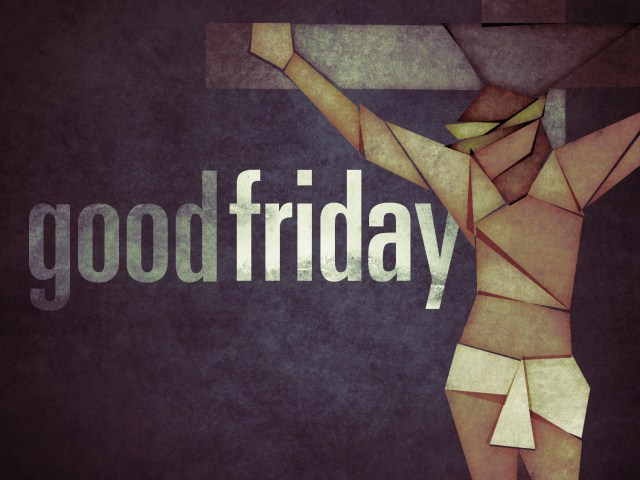 "A stylised illustration of Christ on the cross, with the words ""Good Friday"""