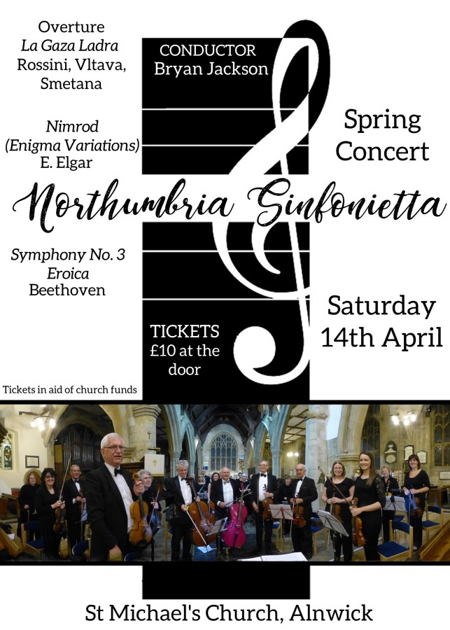A poster for the Sinfonietta concert on Saturday 14th April, text reproduced below