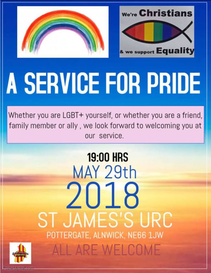A poster giving the time and date of the LGBT service at St James' URC