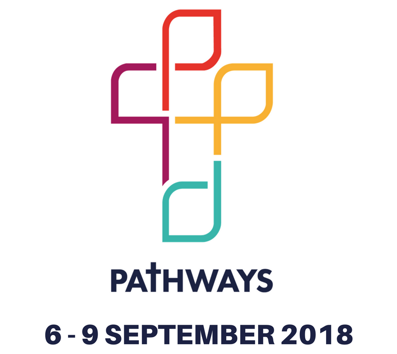 "An image of a cross made of different coloured boxes with the words ""Pathways: 6-9 September 2018) underneath"