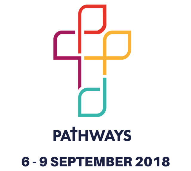 """An image of a cross made of different coloured boxes with the words """"Pathways: 6-9 September 2018) underneath"""
