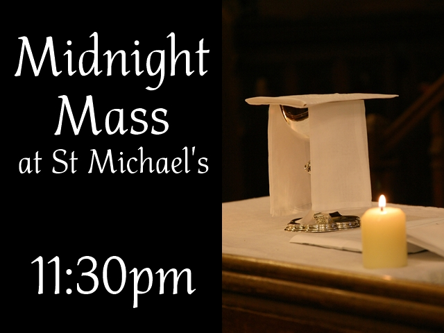 "A photograph of a Communion chalice, and a candle, with the text ""Midnight mass at St Michael's 11:30pm"""