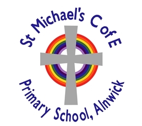 """A grey cross on top of a circular rainbow with the text """"St Michael's C of E Primary School, Alnwick"""""""