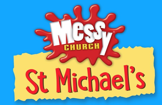 "A red splotch with the words ""Messy Church"" and, underneath, the text ""St Michael's)"
