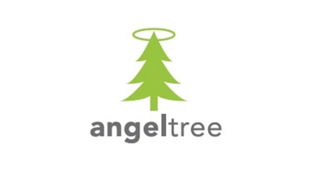 "A graphic of a green fir tree with a halo at the top, and the text ""angeltree"""