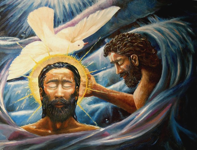 A painting of Jesus being baptised by John in the Jordan with the Holy Spirit appearing as a dove above him