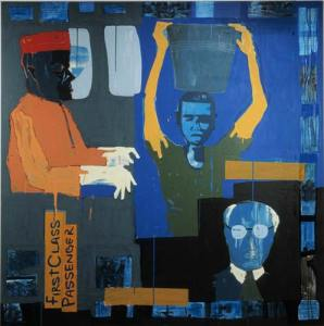 54First-class-Passenger-Acrylic-and--Collage-on--Canvas-195-x-195cm-2004