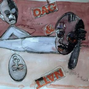 Dag-and-Natt-Water-Color,-Collage--on-Paper