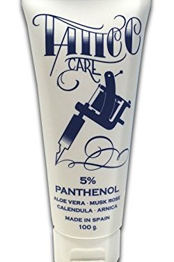 TATTOO CARE POMADA PROTECTORA PARA TATUAJES Y PIELES SECAS E IRRITADAS (5% PANTHENOL, ALOE VERA, ROSA DE MOSQUETA, ÁRNICA y CALENDULA) CREMA – CREAM 100g – 100ml – PROTECTIVE TATTOO OINMENT FOR DRY AND EASILY IRRITATED SKIN