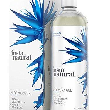 InstaNatural Gel Aloe Vera para rostro y cabello: la mejor hidratación de Aloe Vera puro, orgánico y prensado en frío. Para pieles secas, dañadas o envejecidas. Estupendo para quemaduras solares, acné, heridas del afeitado y picaduras de insectos. 16 oz