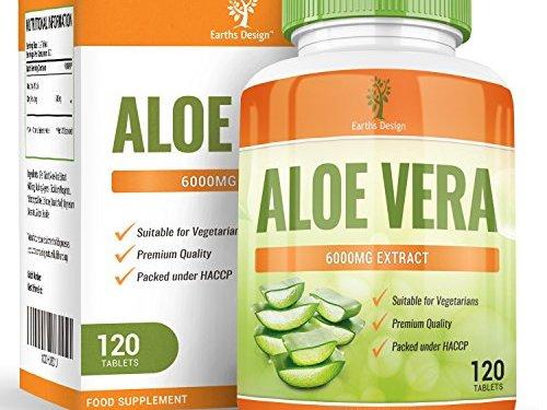 Aloe Vera, suplemento de concentración máxima para adelgazar. Limpia el tracto intestinal y elimina toxinas. Cura e hidrata la piel, 6000mg – 120 pastillas
