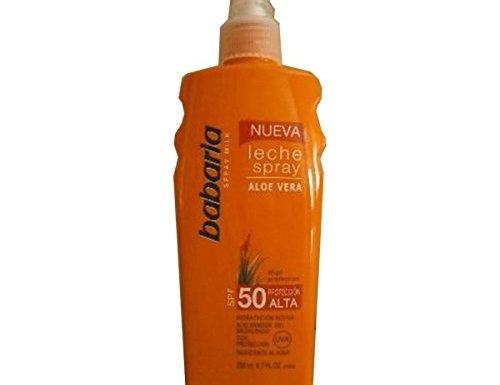 Babaria – Leche spray aloe vera spf50 proteccion alta 200ml Unisex en oferta