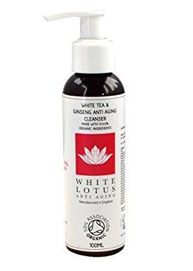 White Lotus Anti Aging: Limpiador Facial Natural, Limpiador Para la Cara con Certificación Orgánica Para Usar con DermaRoller o en Piel Sensible. Limpiador Antiedad Con Aloe Vera y Té Verde 100mL