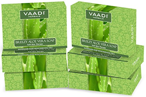 Value Pack of 6 Natural Aloe Vera Soap (75 gms x 6) Anti-Acne – Oil Control – Skin Lightening Soap – Deep Moisturiser Smooth Face Body- Reduce Dark Spot Wrinkles Acne Scars Anti-aging All Skin Type en oferta