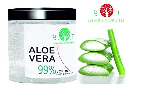 99% Gel Puro de Aloe Vera 200 ml Regenerador 100% natural Hidratante Todo tipo de piel, Cara Cuerpo, Cabello (acondicionador)