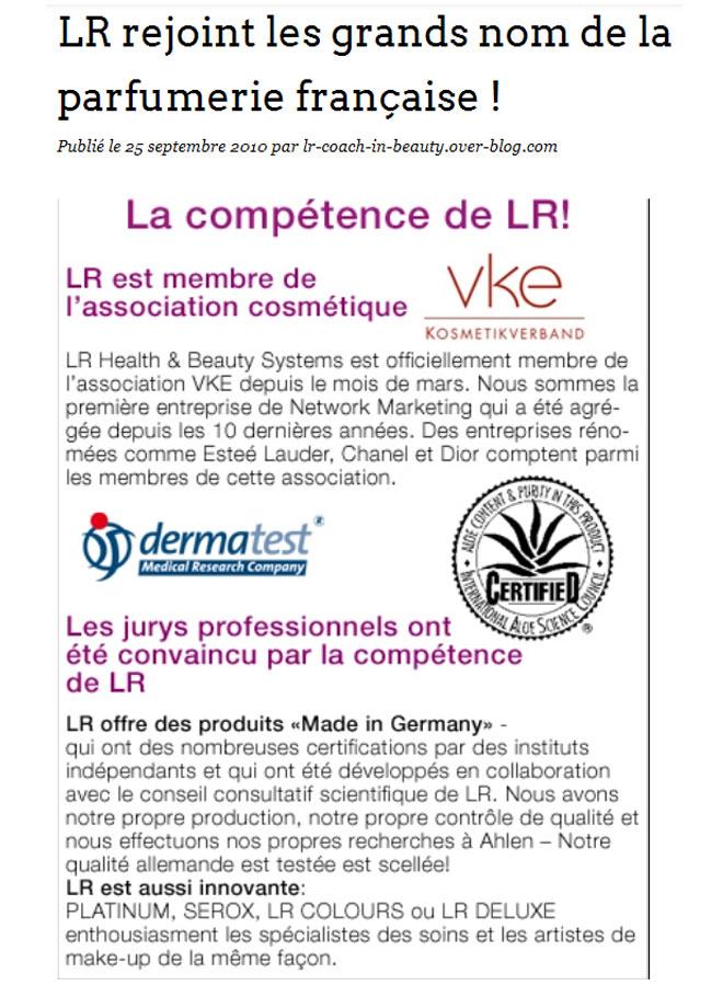 25.09.2010 LR rejoint les grands noms de la parfumerie - VKE