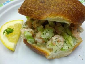 Wurst Wagen shrimp salad on a roll