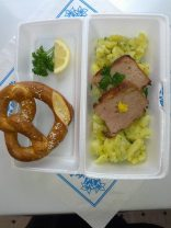 leberkaese and large pretzels