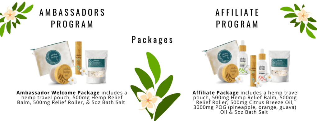 Ambassador and Affiliate Packages