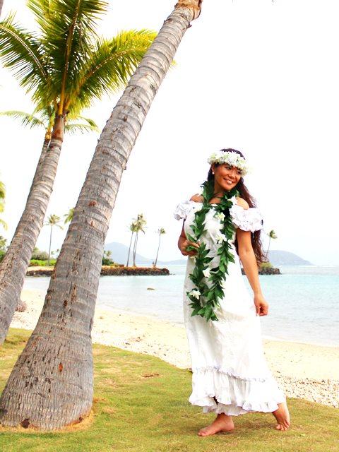 Pacific Legend White On White Cotton Hawaiian Ruffle Long