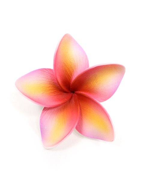 Pink Yellow Single Plumeria Hair Clip 25quot AlohaOutlet