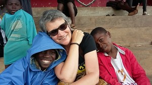 Monica enjoying the company of some of the street children