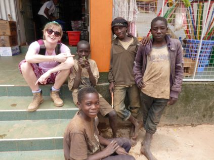 With the street children in Kabale