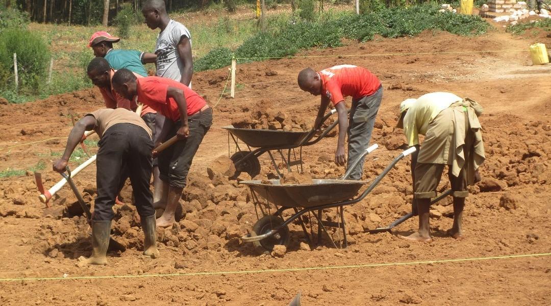 Men piling soil on wheel barrow