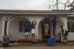 The painting team decorating street children drop-in centre